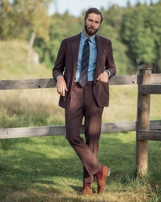 Navy Horizontal Striped Tie with Brown Suit Outfits: This pairing of a brown suit and a navy horizontal striped tie is seriously dapper and provides a clean and neat look. Change up your look with a pair of brown suede loafers.