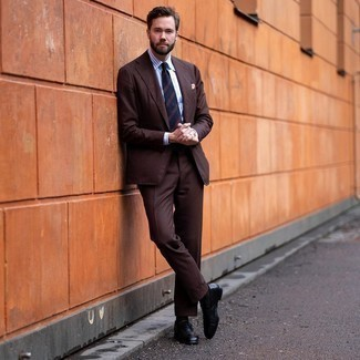 Navy Horizontal Striped Tie with Brown Suit Outfits: You'll be surprised at how extremely easy it is to throw together this sophisticated ensemble. Just a brown suit married with a navy horizontal striped tie. Black leather loafers are an easy way to infuse an air of stylish effortlessness into your look.