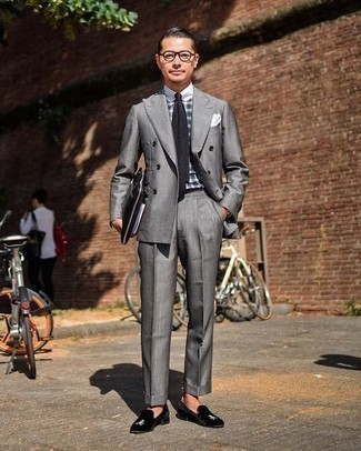 Suit Outfits: Choose a suit and a white and black plaid dress shirt - this look will definitely make a sartorial statement. A pair of black embroidered velvet loafers is a goofproof footwear style that's also full of personality.
