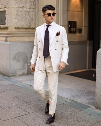 Dark Brown Leather Loafers Outfits For Men: Marrying a white suit and a white dress shirt is a surefire way to inject personality into your day-to-day rotation. Feeling bold today? Tone down this ensemble by sporting dark brown leather loafers.