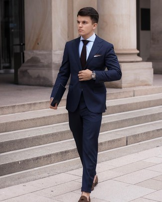Navy Leather Watch Outfits For Men: This laid-back combo of a navy suit and a navy leather watch is a never-failing option when you need to look dapper in a flash. Why not add dark brown suede loafers to the mix for an added touch of style?