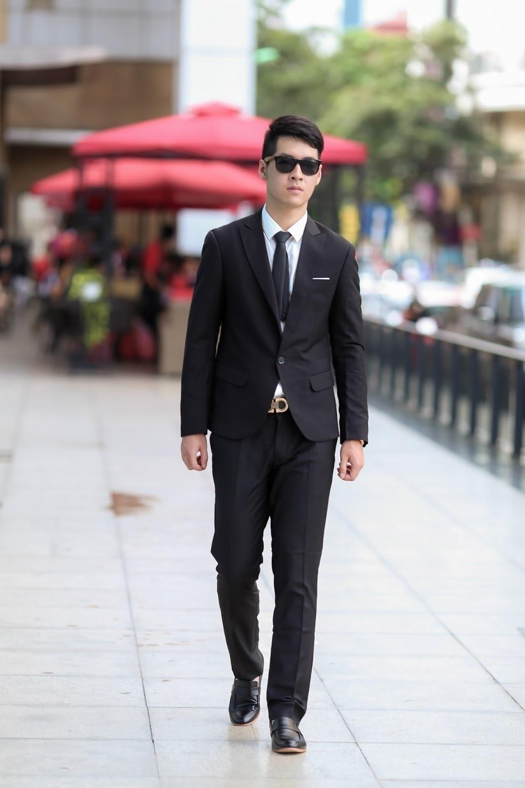 Mens Black Suit White Dress Shirt Black Leather Loafers Black