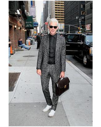 Suit dress shirt low top sneakers briefcase sunglasses large 12185