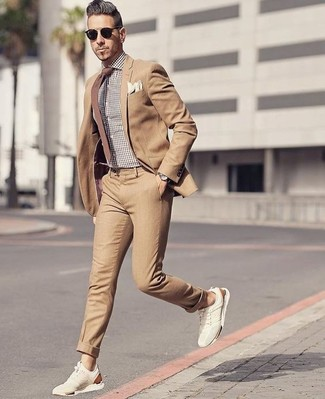 Men's Tan Suit, Brown Gingham Dress Shirt, Beige Suede Low Top Sneakers, Brown Tie