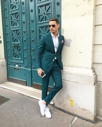 How to wear: teal suit, white dress shirt, white leather low top sneakers, light blue pocket square