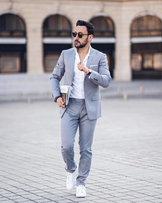 How to wear: grey suit, white dress shirt, white leather low top sneakers, white pocket square