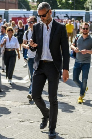 Black Suit with Black Leather Sneakers