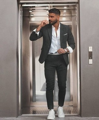 How to Wear Grey Sunglasses For Men: This is solid proof that a charcoal vertical striped suit and grey sunglasses are amazing when matched together in a casual getup. For maximum style, complement your ensemble with white canvas low top sneakers. Wondering how you should dress as you head into your 30s? This getup is a great example.