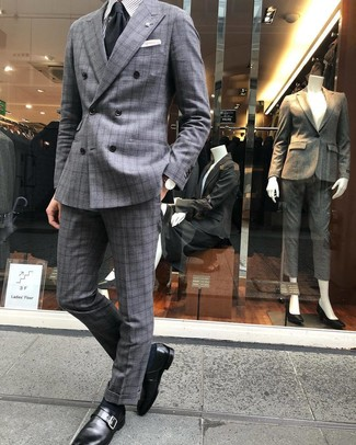 How to wear: grey plaid suit, grey vertical striped dress shirt, black leather monks, black tie