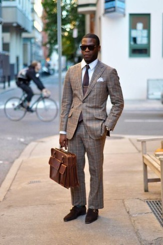 How to Wear a Brown Plaid Suit In Summer: We're loving how this pairing of a brown plaid suit and a white dress shirt immediately makes you look sophisticated and dapper. On the footwear front, this look pairs wonderfully with dark brown suede monks. This ensemble is a goofproof option if you're hunting for a great, summer-friendly ensemble.