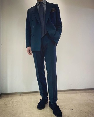 White and Navy Vertical Striped Dress Shirt Outfits For Men: This combination of a white and navy vertical striped dress shirt and a teal suit is extra smart and provides instant elegance. Black suede monks pull the ensemble together.