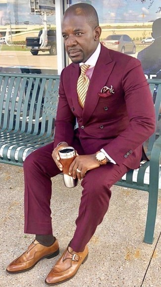 Yellow Horizontal Striped Tie Outfits For Men: Wear a burgundy suit with a yellow horizontal striped tie for rugged sophistication with a contemporary spin. Take an otherwise dressy ensemble in a more informal direction by wearing a pair of tobacco leather monks.