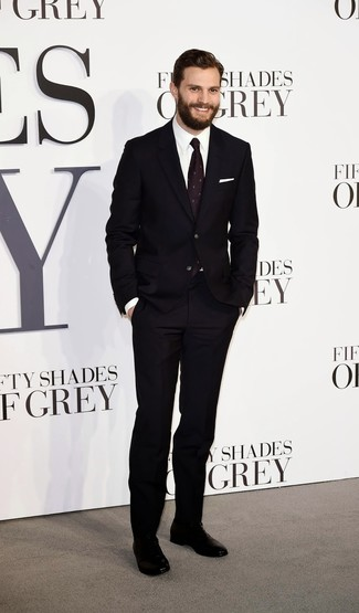 Jamie Dornan wearing Black Suit, White Dress Shirt, Black Leather Oxford Shoes, Dark Purple Print Tie