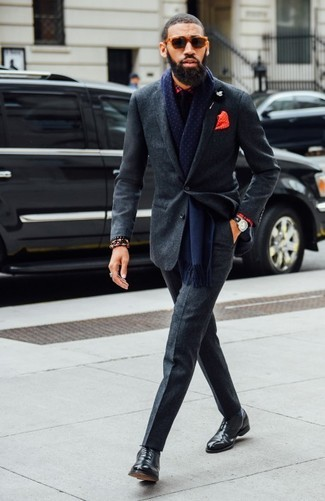 How to wear: charcoal wool suit, red plaid dress shirt, black leather oxford shoes, black tie