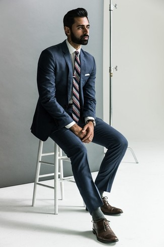 How to wear: navy suit, white dress shirt, dark brown leather oxford shoes, grey vertical striped tie