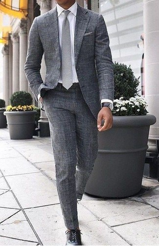 How to wear: grey wool suit, white dress shirt, black leather oxford shoes, grey tie