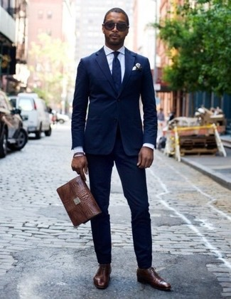 Men's Navy Suit, White Gingham Dress Shirt, Dark Brown Leather Oxford Shoes, Dark Brown Leather Briefcase