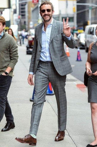 7703daf51e How To Wear a Grey Suit With Brown Oxford Shoes (25 looks   outfits ...
