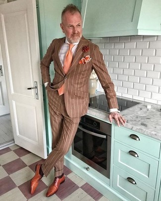 How to wear: brown vertical striped suit, white dress shirt, tobacco leather oxford shoes, orange tie