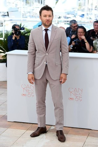 How to wear: beige seersucker suit, white dress shirt, dark brown leather oxford shoes, burgundy tie
