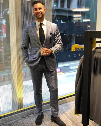 How to wear: grey plaid suit, white dress shirt, navy suede oxford shoes, black tie
