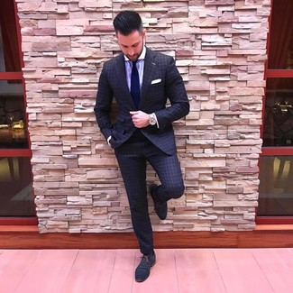 How to Wear a Dark Purple Dress Shirt For Men: Opt for a dark purple dress shirt and a charcoal check suit for a sharp and sophisticated silhouette. A pair of navy leather oxford shoes is a safe footwear style that's also full of character.