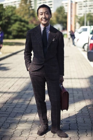 How to Wear Dark Brown Suede Oxford Shoes: This elegant pairing of a dark brown check suit and a white and navy vertical striped dress shirt is a must-try look for today's man. Add a classier twist to this getup by finishing with a pair of dark brown suede oxford shoes.