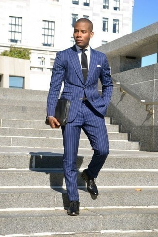 How to Wear a Blue Vertical Striped Suit: Choose a blue vertical striped suit and a white dress shirt for rugged sophistication with a modern twist. If not sure as to what to wear when it comes to shoes, go with a pair of black leather oxford shoes.