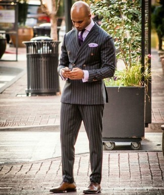 Violet Tie Outfits For Men: For a look that's truly envy-worthy, opt for a charcoal vertical striped suit and a violet tie. A pair of brown leather oxford shoes will bring a carefree vibe to your ensemble.
