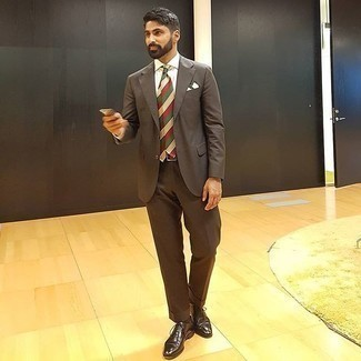 Dark Brown Socks Outfits For Men: Team a dark brown suit with dark brown socks to feel fully confident in yourself and look casually dapper. Finishing with dark brown leather oxford shoes is a fail-safe way to infuse a hint of elegance into your outfit.