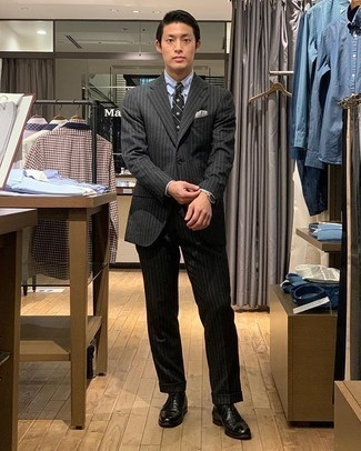 Black Leather Oxford Shoes Outfits: Teaming a charcoal vertical striped suit and a light blue dress shirt is a surefire way to infuse your wardrobe with some manly sophistication. Introduce a pair of black leather oxford shoes to the mix and ta-da: the look is complete.