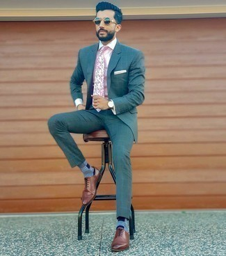 Teal Suit Outfits: This look proves that it pays to invest in such smart menswear pieces as a teal suit and a pink vertical striped dress shirt. A pair of brown leather oxford shoes integrates effortlessly within a great deal of combinations.