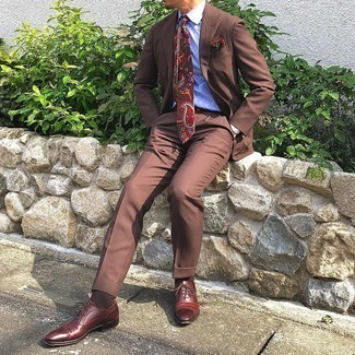Brown Suit with Dress Shirt Outfits: A brown suit and a dress shirt are absolute must-haves if you're putting together a smart wardrobe that matches up to the highest menswear standards. When in doubt about the footwear, slip into a pair of burgundy leather oxford shoes.