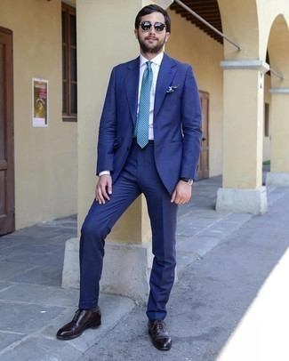 Black Sunglasses Outfits For Men: Combining a blue suit with black sunglasses is an on-point idea for a laid-back yet on-trend look. Turn up the dressiness of your getup a bit by slipping into dark brown leather oxford shoes.