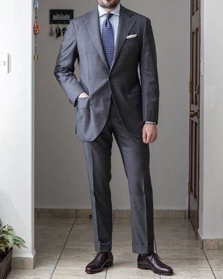 Charcoal Suit Outfits: Dress in a charcoal suit and a white dress shirt if you're going for a neat, trendy outfit. A good pair of dark brown leather oxford shoes pulls this getup together.