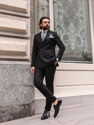 Black Leather Oxford Shoes Outfits: We love the way this combination of a black suit and a white dress shirt instantly makes you look elegant and smart. A good pair of black leather oxford shoes pulls this outfit together.