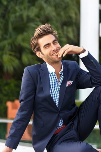 How To Wear a Blue Suit With a White and Red Gingham Dress Shirt