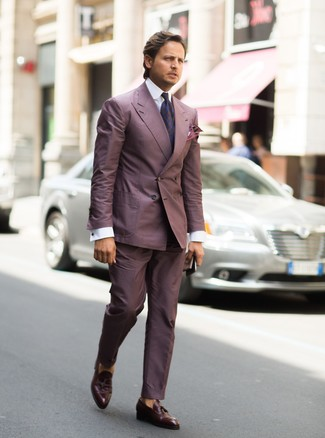 How to wear: purple suit, white dress shirt, dark brown leather tassel loafers, dark purple paisley tie
