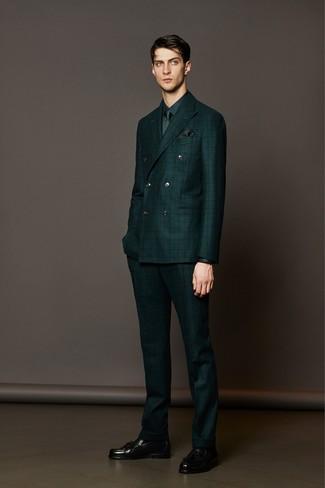 How to wear: dark green check suit, dark green dress shirt, black leather tassel loafers, dark green tie