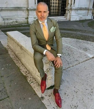 How to wear: olive suit, white dress shirt, red leather tassel loafers, yellow tie
