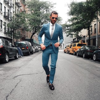 How to wear: teal suit, white dress shirt, black leather tassel loafers, grey tie