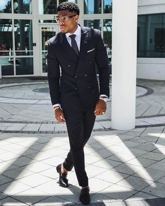 How to wear: black vertical striped suit, white dress shirt, black leather tassel loafers, black and white polka dot tie
