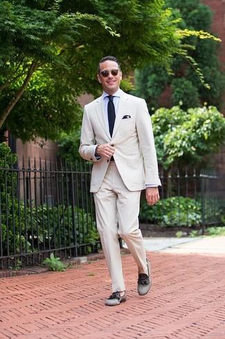 Men's Beige Seersucker Suit, Light Blue Dress Shirt, Grey Canvas Tassel Loafers, Navy Knit Tie