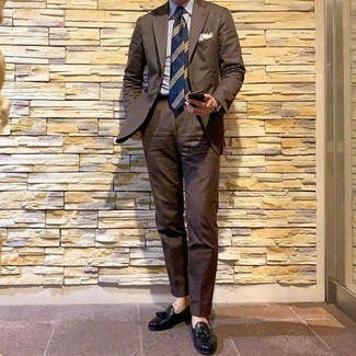 How to wear: brown suit, white and blue vertical striped dress shirt, black leather tassel loafers, navy horizontal striped tie