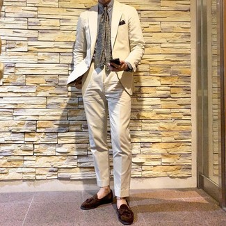 How to wear: beige suit, white vertical striped dress shirt, brown suede tassel loafers, olive print tie