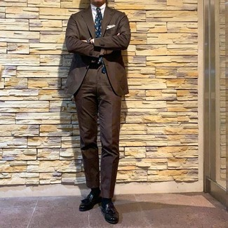 How to wear: brown suit, white dress shirt, black leather tassel loafers, teal print tie
