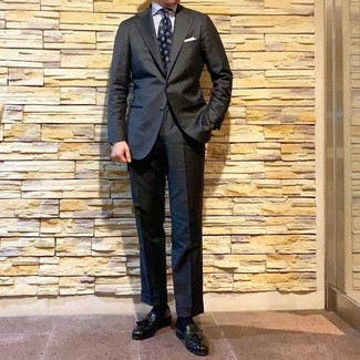 How to wear: charcoal suit, white vertical striped dress shirt, black leather tassel loafers, navy print tie