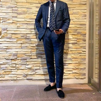 How to wear: navy suit, white vertical striped dress shirt, black suede tassel loafers, navy print tie