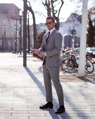 How to wear: grey suit, white dress shirt, black leather tassel loafers, black tie