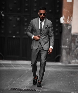 How to wear: charcoal suit, white dress shirt, black leather tassel loafers, charcoal tie